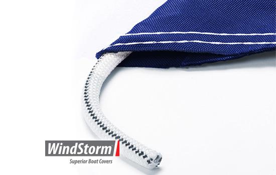 Heavy duty shock cord sewn into the hem
