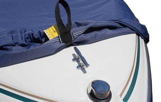 Optional RIDGELINE support system shown attaching to front of boat using cleat.