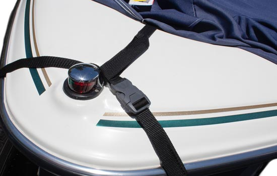 Optional RIDGELINE support system shown attaching to front of boat using supplied strap.