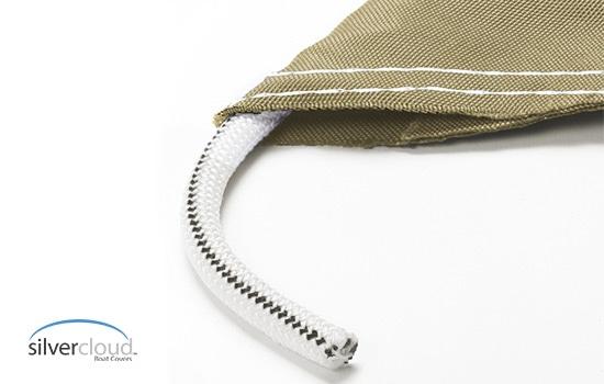 Cutaway view showing heavy duty shock cord sewn in hem