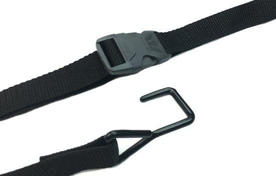 Heavy-duty strap with buckle to attach optional Ridgeline support system to boat or trailer