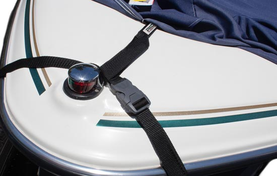 Optional RIDGELINE support system shown attaching to front of boat using supplied strap